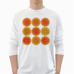 Orange Discs Orange Slices Fruit White Long Sleeve T Shirts