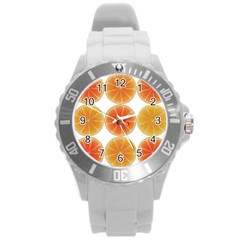 Orange Discs Orange Slices Fruit Round Plastic Sport Watch (l)
