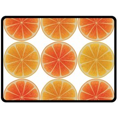 Orange Discs Orange Slices Fruit Double Sided Fleece Blanket (large)  by Nexatart