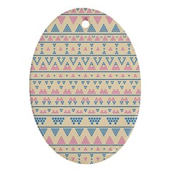 Blue And Pink Tribal Pattern Ornament (oval) by berwies