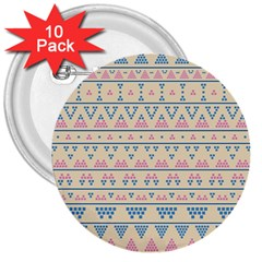 Blue And Pink Tribal Pattern 3  Buttons (10 Pack)  by berwies