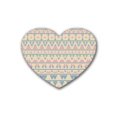 Blue And Pink Tribal Pattern Rubber Coaster (heart)  by berwies