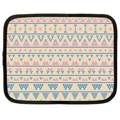 Blue And Pink Tribal Pattern Netbook Case (xxl)  by berwies