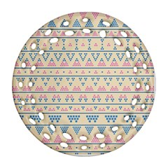 Blue And Pink Tribal Pattern Ornament (round Filigree) by berwies