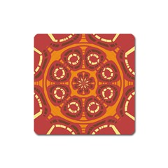 Dark Red Abstract Square Magnet by linceazul