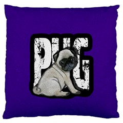 Pug Large Flano Cushion Case (two Sides) by Valentinaart