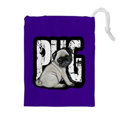 Pug Drawstring Pouches (extra Large) by Valentinaart