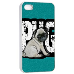 Pug Apple Iphone 4/4s Seamless Case (white) by Valentinaart