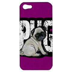 Pug Apple Iphone 5 Hardshell Case by Valentinaart