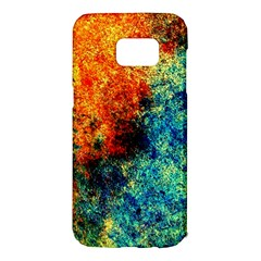 Orange Blue Background Samsung Galaxy S7 Edge Hardshell Case by Costasonlineshop