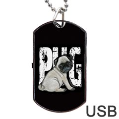 Pug Dog Tag Usb Flash (two Sides) by Valentinaart