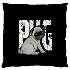 Pug Large Cushion Case (two Sides) by Valentinaart