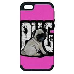 Pug Apple Iphone 5 Hardshell Case (pc+silicone) by Valentinaart