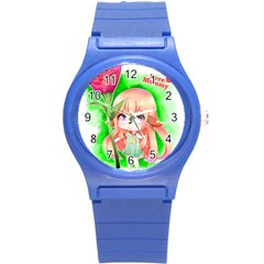 Happy Mother s Day Furry Girl Round Plastic Sport Watch (s) by Catifornia