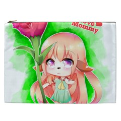 Happy Mother s Day Furry Girl Cosmetic Bag (xxl)  by Catifornia