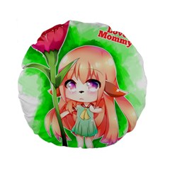 Happy Mother s Day Furry Girl Standard 15  Premium Round Cushions by Catifornia