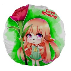 Happy Mother s Day Furry Girl Large 18  Premium Round Cushions by Catifornia