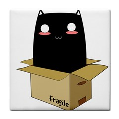 Black Cat In A Box Tile Coasters by Catifornia