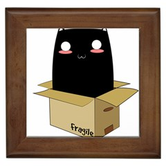 Black Cat In A Box Framed Tiles by Catifornia