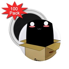 Black Cat In A Box 2 25  Magnets (100 Pack)  by Catifornia