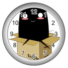 Black Cat In A Box Wall Clocks (silver)  by Catifornia