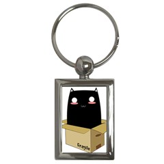 Black Cat In A Box Key Chains (rectangle)  by Catifornia