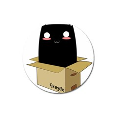 Black Cat In A Box Magnet 3  (round) by Catifornia