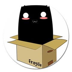 Black Cat In A Box Magnet 5  (round) by Catifornia