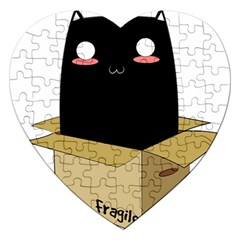 Black Cat In A Box Jigsaw Puzzle (heart) by Catifornia
