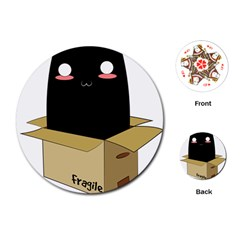 Black Cat In A Box Playing Cards (round)  by Catifornia