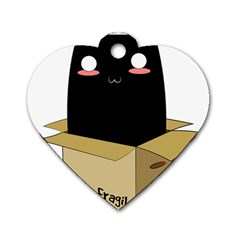 Black Cat In A Box Dog Tag Heart (two Sides) by Catifornia