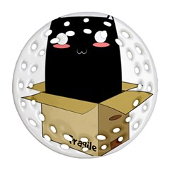 Black Cat In A Box Ornament (round Filigree) by Catifornia
