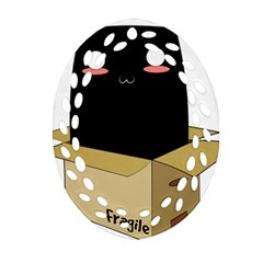 Black Cat In A Box Oval Filigree Ornament (two Sides) by Catifornia