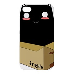 Black Cat In A Box Apple Iphone 4/4s Hardshell Case by Catifornia