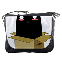 Black Cat In A Box Messenger Bags by Catifornia