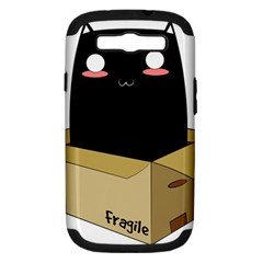 Black Cat In A Box Samsung Galaxy S Iii Hardshell Case (pc+silicone) by Catifornia