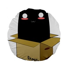 Black Cat In A Box Standard 15  Premium Round Cushions by Catifornia
