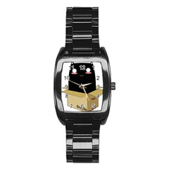 Black Cat In A Box Stainless Steel Barrel Watch by Catifornia