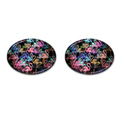 Flamingo Pattern Cufflinks (oval) by Valentinaart