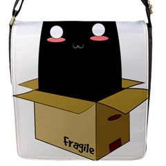 Black Cat In A Box Flap Messenger Bag (s) by Catifornia