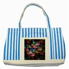 Flamingo Pattern Striped Blue Tote Bag by Valentinaart