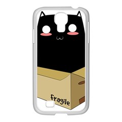 Black Cat In A Box Samsung Galaxy S4 I9500/ I9505 Case (white) by Catifornia