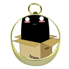Black Cat In A Box Gold Compasses by Catifornia