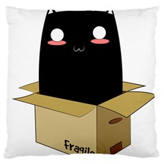 Black Cat In A Box Large Flano Cushion Case (two Sides) by Catifornia
