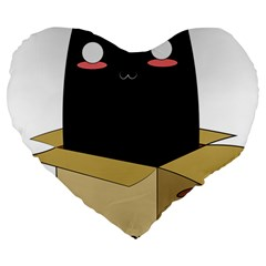 Black Cat In A Box Large 19  Premium Flano Heart Shape Cushions by Catifornia
