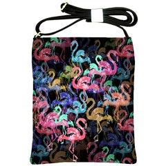 Flamingo Pattern Shoulder Sling Bags by Valentinaart
