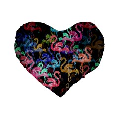 Flamingo Pattern Standard 16  Premium Heart Shape Cushions by Valentinaart