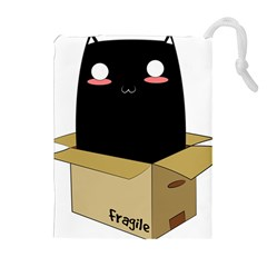 Black Cat In A Box Drawstring Pouches (extra Large) by Catifornia