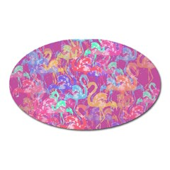 Flamingo Pattern Oval Magnet by Valentinaart