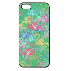 Flamingo Pattern Apple Iphone 5 Seamless Case (black) by Valentinaart